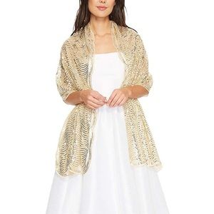 Gold sequined shawl w/Scalloped edges